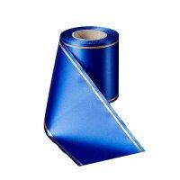 Supersatin enzianblau 075mm / 25m mit Strichrand gold