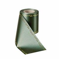 Supersatin flaschengrün 100mm / 25m Efeurand gold