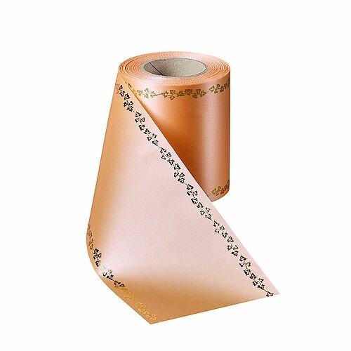 Supersatin pfirsich 100mm / 25m Efeurand gold