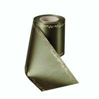 Supersatin moosgrün 125mm / 25m Efeurand gold