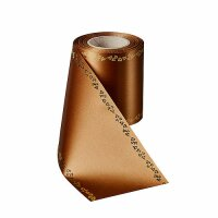 Supersatin goldbraun 125mm / 25m mit Efeurand gold