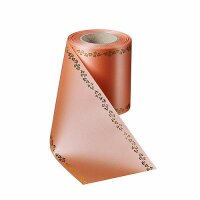 Supersatin apricot 125mm / 25m mit Efeurand gold