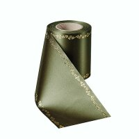 Supersatin moosgrün 150mm / 25m Efeurand gold