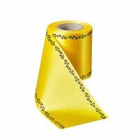 Supersatin gelb 100mm / 25m Efeurand schwarz