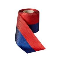 Moiré Nationalband blau-rot 100mm / 25m