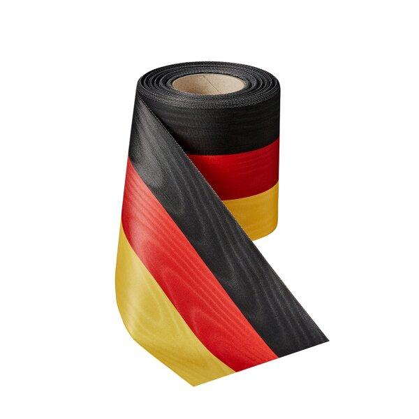 Moiré Nationalband schwarz-rot-gold 100mm / 25m (BRD)