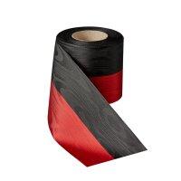 Moiré Nationalband 75mm schwarz-rot / 25m