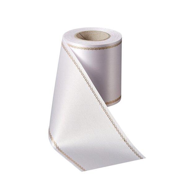 Supersatin weiß 100mm / 25m Z-Rand gold